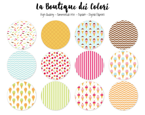 Ice Cream Circles Clipart - La Boutique Dei Colori