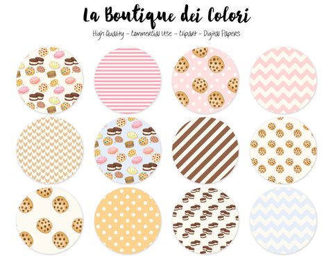 Milk and Cookies Circles Clipart - La Boutique Dei Colori