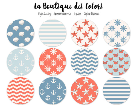 Cute Nautical Circles Clipart - La Boutique Dei Colori
