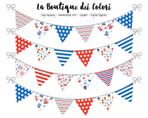 4th of July Bunting Banner Clipart - La Boutique Dei Colori