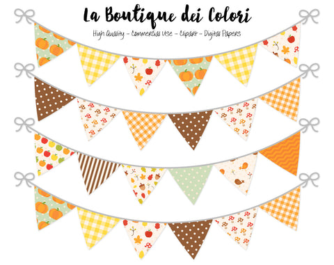 Autumn Bunting Banner Clipart - La Boutique Dei Colori