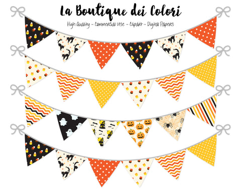 Halloween Bunting Banner Clipart - La Boutique Dei Colori