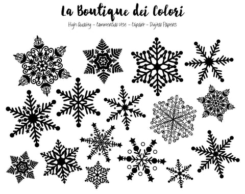 Black and White Snowflake Clipart - La Boutique Dei Colori - 1