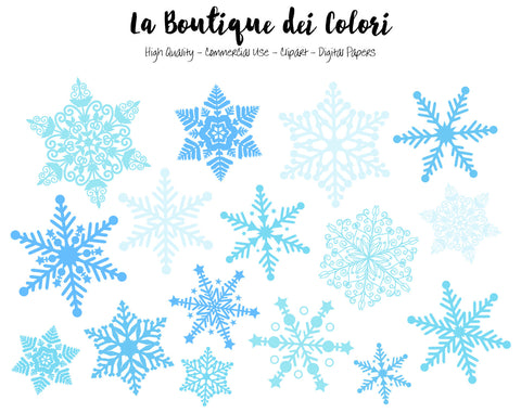 Blue Snowflake Clipart - La Boutique Dei Colori
