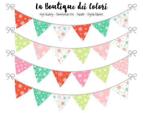 Christmas Bunting Banner Clipart - La Boutique Dei Colori
