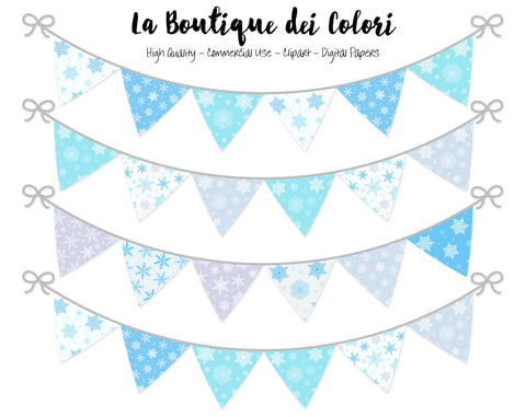 Winter Bunting Banner Clipart - La Boutique Dei Colori