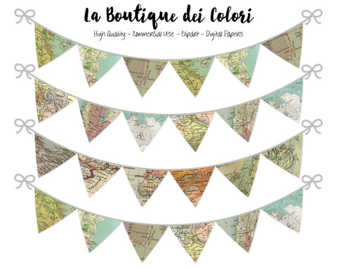 World Maps Bunting Banner Clipart - La Boutique Dei Colori
