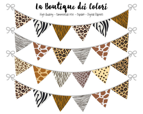 Animal Print Bunting Banner Clipart - La Boutique Dei Colori