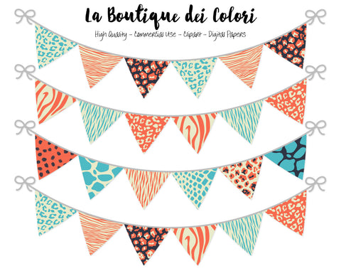 Colorful Animal Prints Bunting Banner Clipart - La Boutique Dei Colori