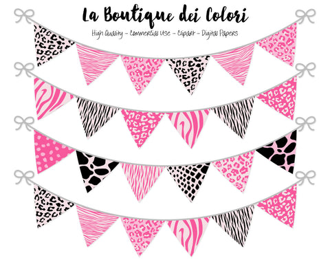 Pink and Black Animal Prints Bunting Banner Clipart - La Boutique Dei Colori