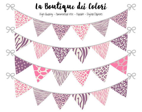 Pink and Purple Animal Prints Bunting Banner Clipart - La Boutique Dei Colori