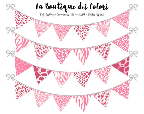 Pink Animal Prints Bunting Banner Clipart - La Boutique Dei Colori