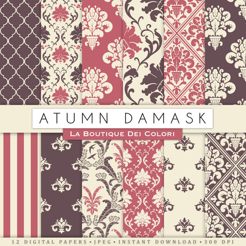 Autumn Damask Digital Paper - La Boutique Dei Colori