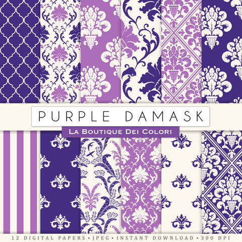 Purple Damask Digital Paper - La Boutique Dei Colori