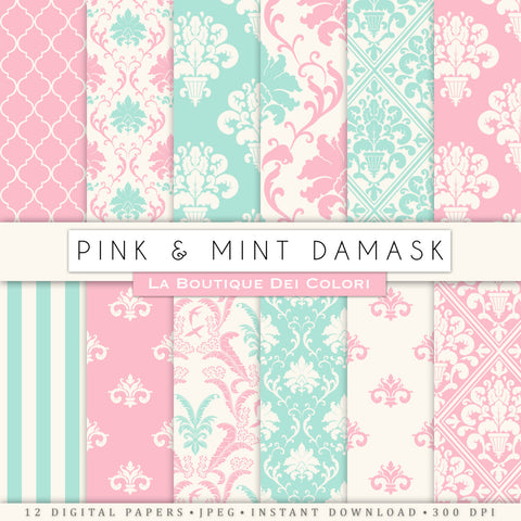 Pink and Mint Damask Digital Paper - La Boutique Dei Colori