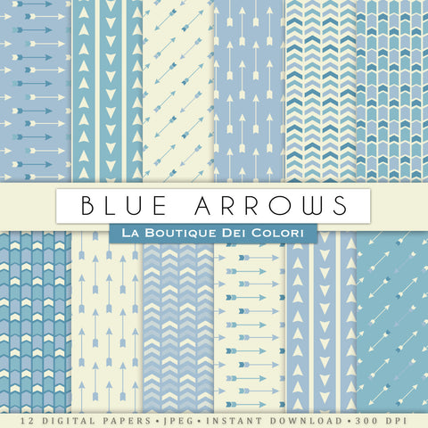 Blue Arrows Digital Paper - La Boutique Dei Colori