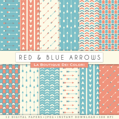 Red and Blue Arrows Digital Paper - La Boutique Dei Colori