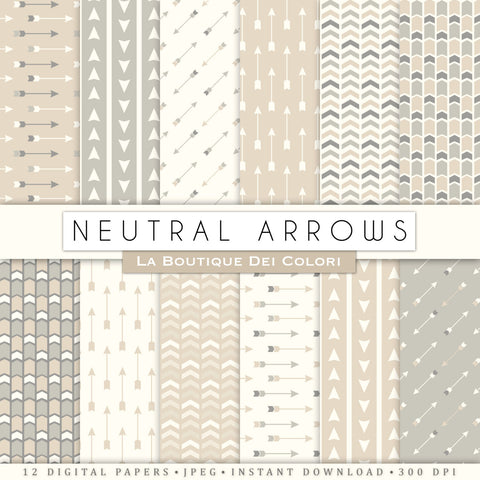 Neutral Arrows Digital Paper - La Boutique Dei Colori