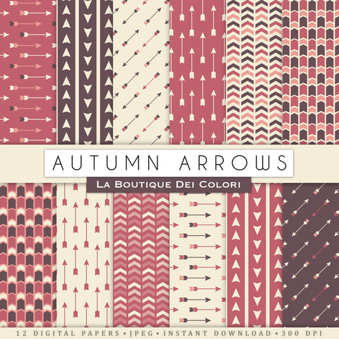 Autumn Arrows Digital Paper - La Boutique Dei Colori