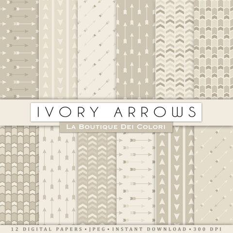 Ivory Arrows Digital Paper - La Boutique Dei Colori
