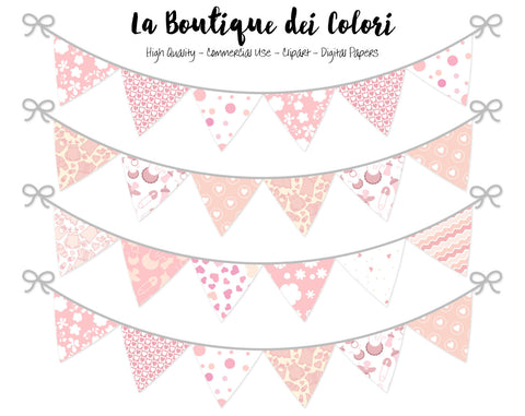 Baby Girl Bunting Banner Clipart - La Boutique Dei Colori