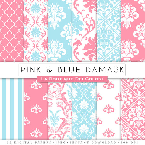 Pink and Blue Damask Digital Paper - La Boutique Dei Colori