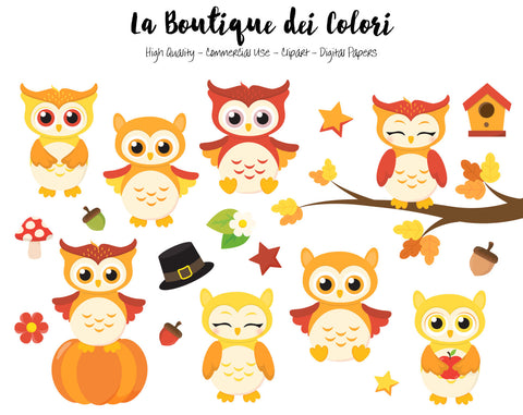 Fall Owls Clipart - La Boutique Dei Colori
