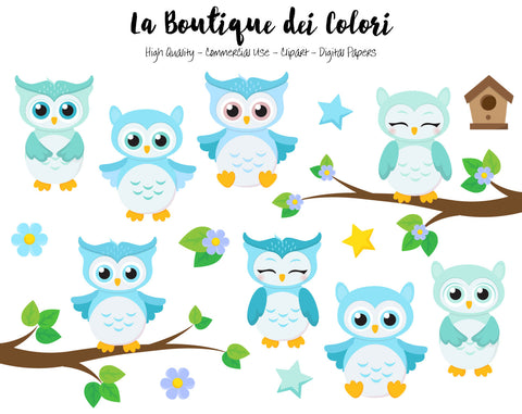 Blue Baby Owls Clipart - La Boutique Dei Colori