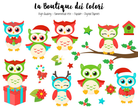 Christmas Owls Clipart - La Boutique Dei Colori