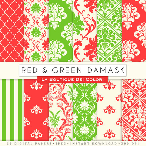 Red and Green Damask Digital Paper - La Boutique Dei Colori