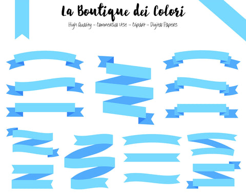 Light Blue Ribbon Banner Clipart - La Boutique Dei Colori