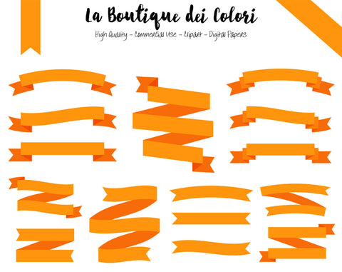 Orange Ribbon Banner Clipart - La Boutique Dei Colori