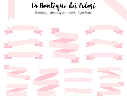 Soft Pink Ribbon Banner Clipart - La Boutique Dei Colori