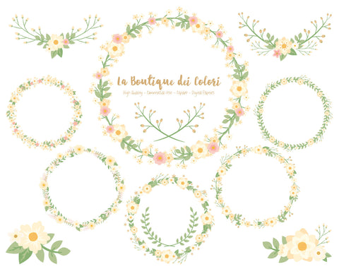Ivory Flower Wreath Clipart - La Boutique Dei Colori