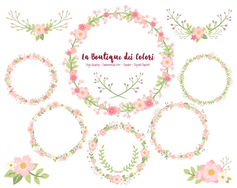 Pink Flower Wreath Clipart - La Boutique Dei Colori