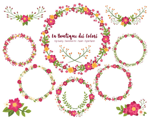Cranberry Red Flower Wreath Clipart - La Boutique Dei Colori