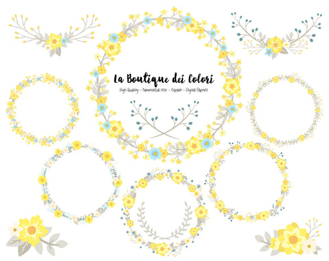 Yellow, Blue and Grey Flower Wreath Clipart - La Boutique Dei Colori