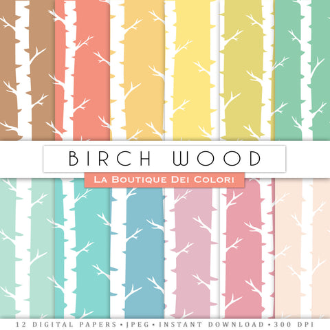 Colorful Birch Digital Paper - La Boutique Dei Colori
