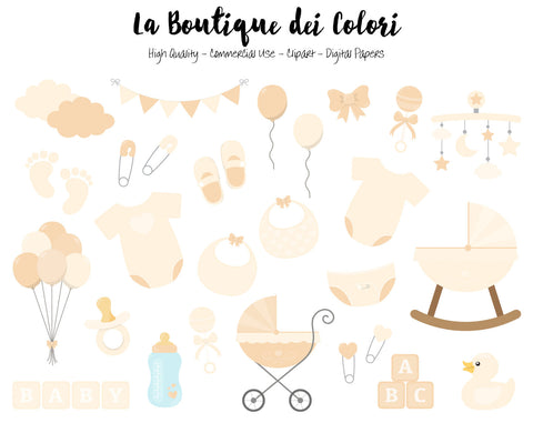 White Baby Shower Clipart - La Boutique Dei Colori