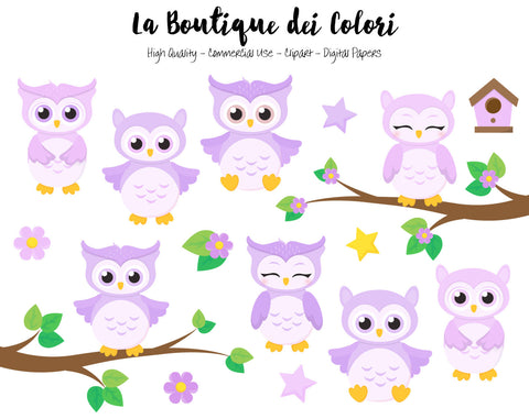 Purple Baby Owls Clipart - La Boutique Dei Colori