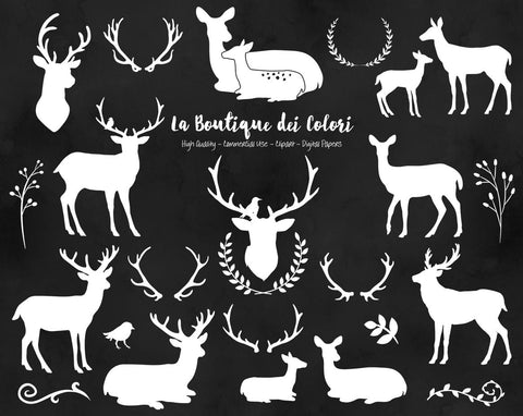 White Deer Silhouette Clipart - La Boutique Dei Colori - 1