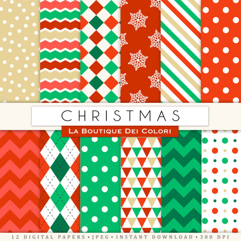 Classic Christmas Digital Paper - La Boutique Dei Colori