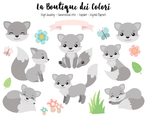 Gray Fox Clipart - La Boutique Dei Colori