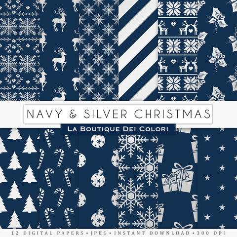 Navy and Silver Christmas Digital Paper - La Boutique Dei Colori