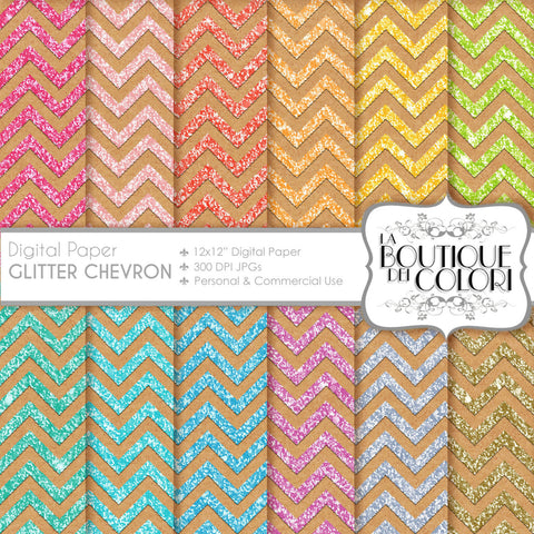 Kraft Glitter Chevron Digital Paper - La Boutique Dei Colori