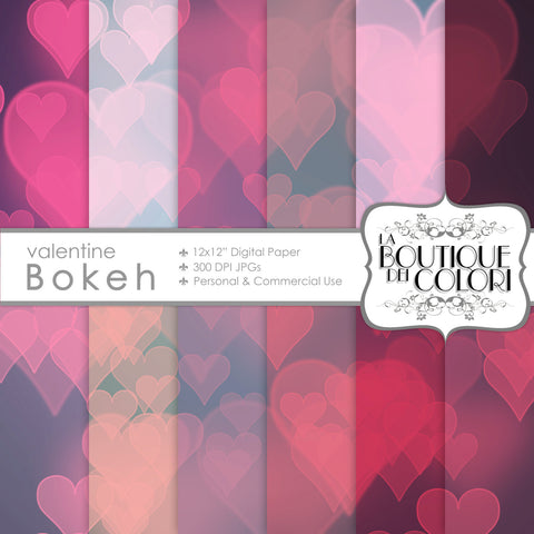 Valentine's Bokeh Day Digital Paper - La Boutique Dei Colori