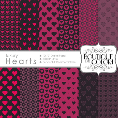 Dark Valentine's Day Digital Paper - La Boutique Dei Colori