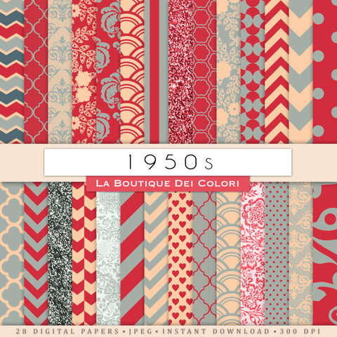 1950s Vintage Digital Paper - La Boutique Dei Colori
