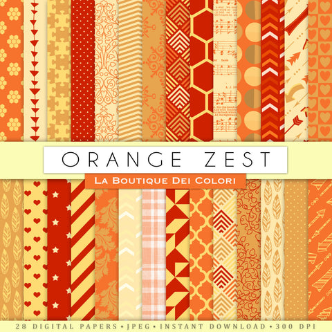 Orange Zest Digital Paper - La Boutique Dei Colori