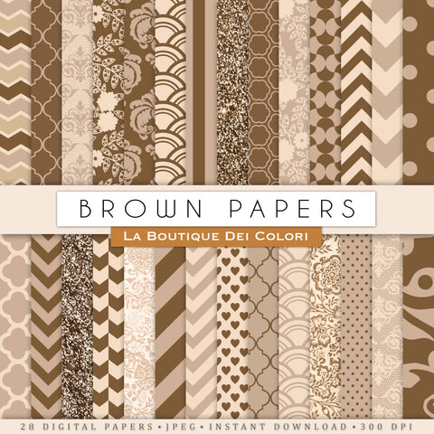 Brown Digital Paper Bundle - La Boutique Dei Colori
